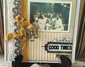 Good Times, Handmade Card, Greeting Card, Yellow, Friends, Vintage Photo, Cottage Chic, Collage, For her, All Occassion,  ofg team