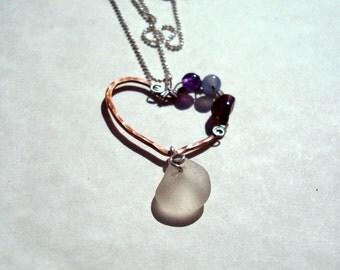 Sea Glass Necklace -White Seaglass -Copper Heart -Gemstone Beads -Beach Glass Jewelry