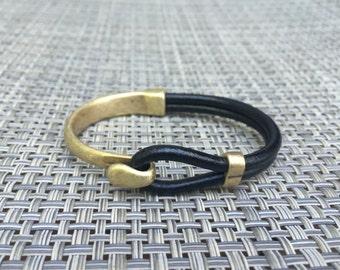 Brass Hook Half Cuff Bracelet