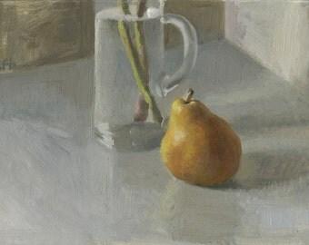Original oil painting: Pear, Still Life