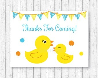 Rubber Duck Party Favor Tags / Thank You Tags / Rubber Ducky Baby Shower / Baby Boy Shower / INSTANT DOWNLOAD