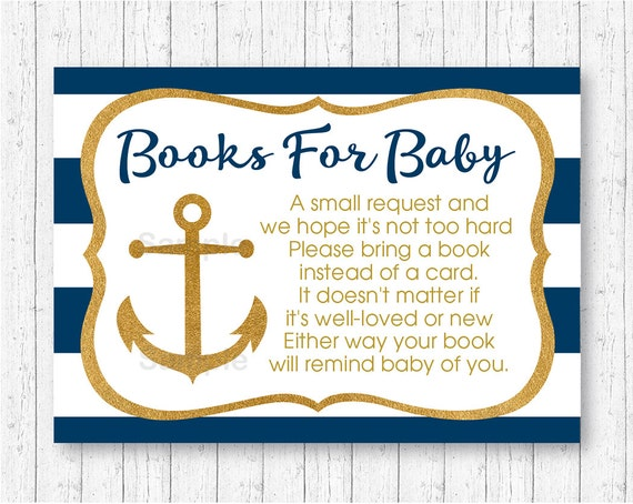 nautical baby shower book request cards nautical baby shower gold