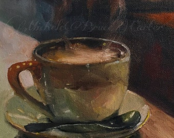 Oil Painting 6x6  Hot Coffee Cafe Mug Hot Cocoa Hot Chocolate Caffe Resturant Autumn Love Fall Vibe Oil Painting Still Life Original