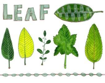 Leaf Art Print Floral Art Print, Cute Office Decor or Kitchen Art, Watercolor Flowers, Botanical Prints