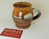 Ceramic S'mores Mug - Handmade Coffee Mug - Tea Lovers Gift - Rustic Primitive Cup - Brown White Simple Pottery - Sca - Renn Faire - LARP -