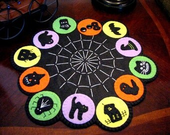 "Hand Stitched 16-1/2"" x 14-1/2"" Wool-Felt Primitive - Folk Art ""HALLOWEENIE"" Candle Mat - Penny Rug - Wool Applique - Halloween Decor -Wool"