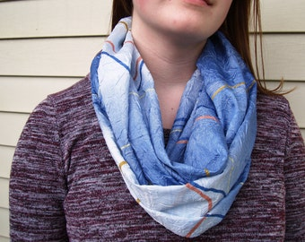Light & Dark Blue Infinity Scarf Ombre Patterned Fabric Light Summer Scarf Circle Loop Scarf Fashion Scarf Womens Scarves Pale Blue Indigo