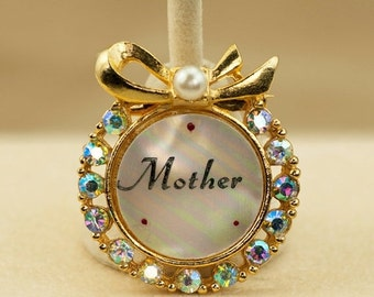 Brooch - Mother of Pearl and AB Rhinestone Vintage Gold Tone Mother Brooch