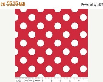 SALE Medium Dots White on Red - 1/2 Yard