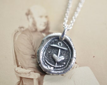 anchor with heart wax seal necklace pendant - hope in you - medieval sterling silver wax seal jewelry