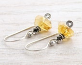 Citrine Earrings, Yellow Gemstone, November Birthstone, Rustic, Faceted, Spirals, Sterling Silver, Dangle,  #4568