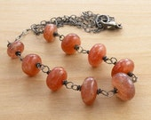 Sunstone Necklace, Sunstone Jewelry, Orange Gemstone Necklace, Wire Wrapped, Oxidized Sterling Silver  #3580