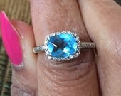 14K white gold cushion cut basket cut rose cut Flawless grade AAA sky blue topaz pave diamond halo ring size 5.5