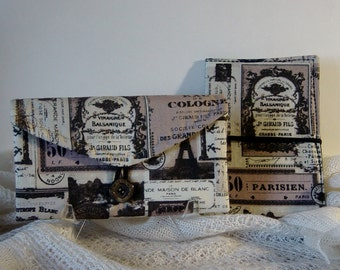 Travel Jewelry Organizer, Passport Wallet, Travel Gift Set, Historic Paris Travel Fabric, Black, Taupe, Ivory