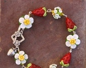 BACK 2 SCHOOL SALE Strawberry Garden Sra Lampwork DeSIGNeR Bracelet Strawberries Shortcake Fruit Spring Summer Dessert