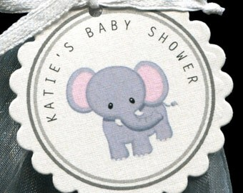 Personalized Baby Shower Favor Tags, elephant, set of 25 round scallop tags