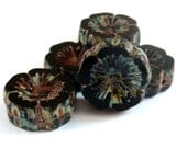 6 Jet Picasso Czech Glass Chunky Pansy Beads Opaque Black Flowers 14mm - 6 pc - G6056-BKP6
