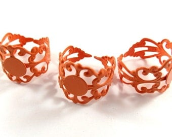 SALE - 3 Orange Ring Blank Filigree Copper Base Adjustable 8mm - 3 pc - R8001-OR3