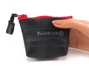 Recycled bicycle inner tube purse, small,  with red zipper, top quality.