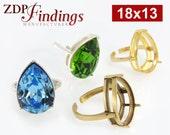 2pcs x Quality Cast 18x13mm Adjustable Teardrop Ring Bezel Settings fit Swarovski 4320 crystals DIY, Choose Your Finish (N15V)