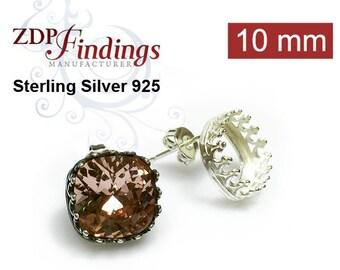 4pcs x Square 10mm Swarovski 4470 Base Bezel Post Stud Earrings Setting 925 Sterling Silver DIY, Choose your Finish (PO9481SV)