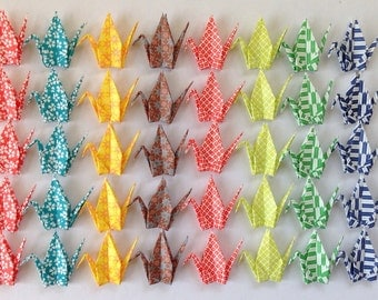 "40 Small Origami Cranes - 8 Designs, 3"" (7.5cm) Washi Chiyogami, Origami Paper Cranes, Crane Bird, Chiyogami Cranes, Place Card, Handmade"