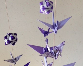 """Mix Sized Origami Mobile - 10 Cranes and 3 Modules (Purple Shades), folded from 3"""" (7.5cm) to 6"""" (15cm) Solid and Patterned, Home Decor"""