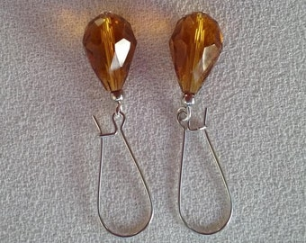SALE Long Whisky Crystal Quartz Amber Pear Drops  Earrings