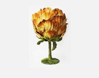 Brown Floral Goblet, Wine Glass, Cup, Flower, 15 oz., Fairy, Wedding, Woodland Cup, Renaissance Faire, Birthday, Drinkware, Mug
