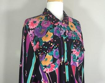 Carol Little Blouse,  Rayon Black Blouse, 90s Floral Blouse, C L Petite Top, Carole  Little Rayon Top