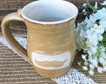 Stoneware Coffee Mug w/Mustache for Him, Tea Mug, Pottery Coffee Mug, Rustic Kitchen Decor,Gift Ready to Ship