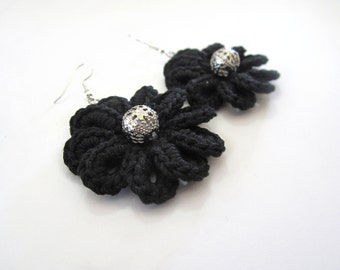 Crochet earrings,flower earrings,fiber earrings,textile earrings,crochet flower earrings,black earrings,black flower earrings,gift for her,