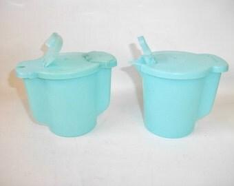 Vintage Cream and Sugar Tupperware Blue Vintage Kitchenware