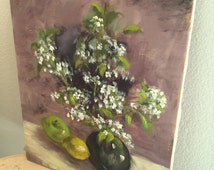 Vintage Painting on Canvas Floral Still Life - White Flowers - Oil or Acrylic - Lilac Lavender