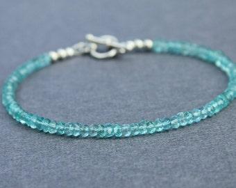 Apatite bracelet - sterling silver - layering bracelet - delicate bracelet - aqua bracelet - bead bracelet - dainty bracelet