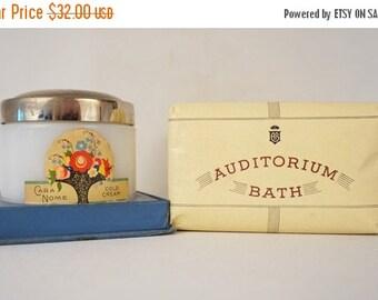 SALE Vintage Vanity Items Cara Nome Cold Cream Jar and 3 Cakes of Auditorium Bath Soap