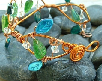 Fairy Woodland Vine Bracelet Arm Band or Arm Cuff Green & Silver, Gift for Her.
