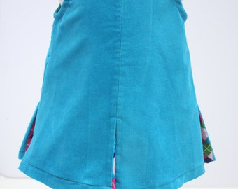 Baby Girl Blue Dress, Toddler Dress, Corduroy Dress, Kids dress, Little kids Clothes, Size 12-18 Months