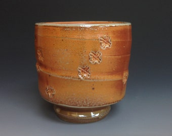 Yunomi. Soda Fired Stoneware. Stamped Pattern