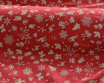 4195 - Christmas Cotton Jersey Knit Fabric - 70 Inch (Width) x 1/2 Yard (Length)