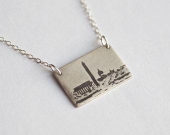 Washington DC Necklace - Washington Jewelry - Washington DC Jewelry - DC Skyline - District of Columbia - City Necklace - Skyline Pendant