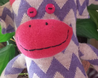 Grape  Chevron Stripe Monkey