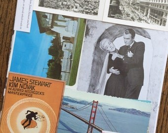 Vertigo Starring James Stewart and Kim Novak Alfred Hitchcock Classic Vintage Movie Collage, Scrapbook and Planner Kit Number 2168