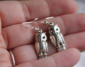 Antique silver owl, pressed tin dangle earrings