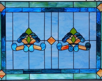 """Stained glass Window - """"Traditional Opals II"""" (W-89)"""
