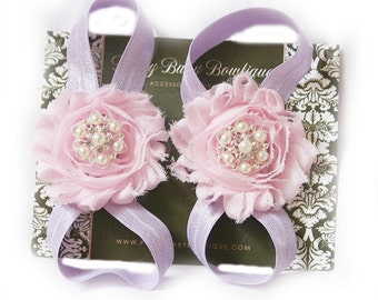 Barefoot Sandals- Photo Prop- Baby Shoes- Baby Girl Sandals- Barefoot Sandals Pink and lavender
