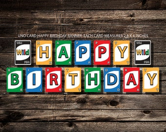 UNO Card HAPPY BIRTHDAY Banner - Printable - Digital Download