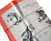 Vintage Koala Bear Silk Scarf Pink White Gray Australian NOS by Neil