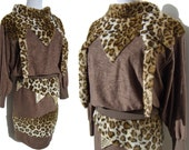 Vintage 80s Dress Set Leopard Harajuku Girl 2-Piece Top & Skirt Japanese Street Fashion M