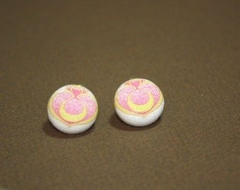 Sailor Moon Locket Button Earrings - Post Fabric Covered Studs